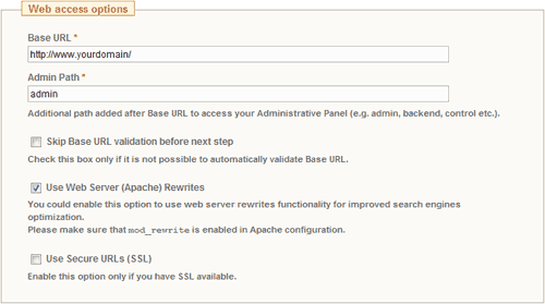 Magento Installation Wizard: Web Access Options